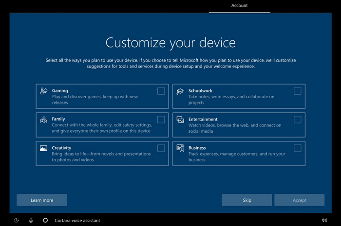 Windows 10 будет спрашивать у пользователя, для каких целей используется компьютер