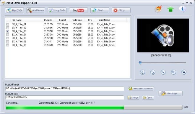 Next DVD Ripper - DVD риппинг, сохрание DVD в AVI, WMV, MPG, MP4, 3GP.