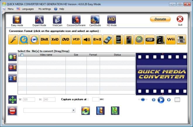 Quick Media Converter - универсальное средство для конвертирования видео и аудио.