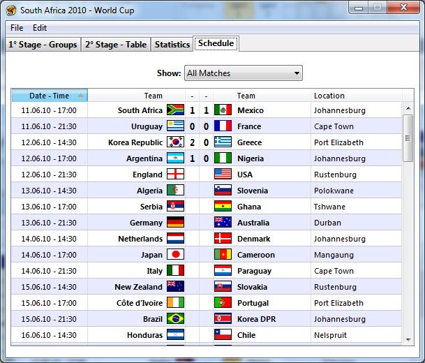 South Africa 2010 – World Cup - Расписание матчей в хронологическом порядке.
