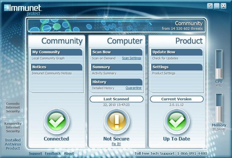 Immunet Protect - Главное окно программы