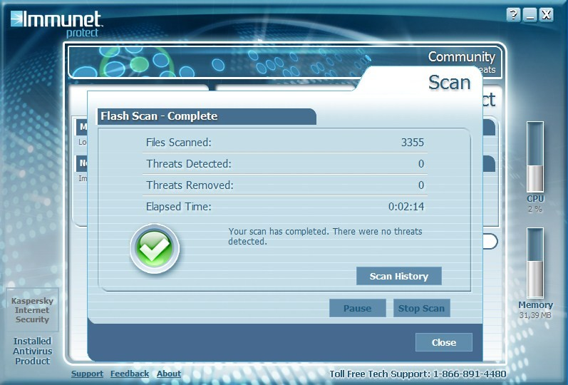 Immunet Protect - Flash Scan
