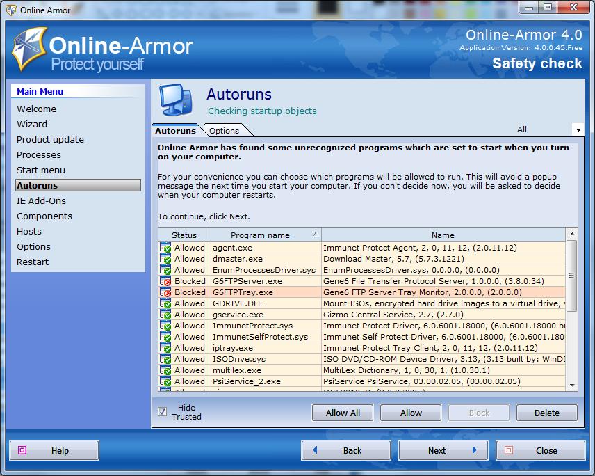 Online-Armor - Safety Check - программы автозапуска