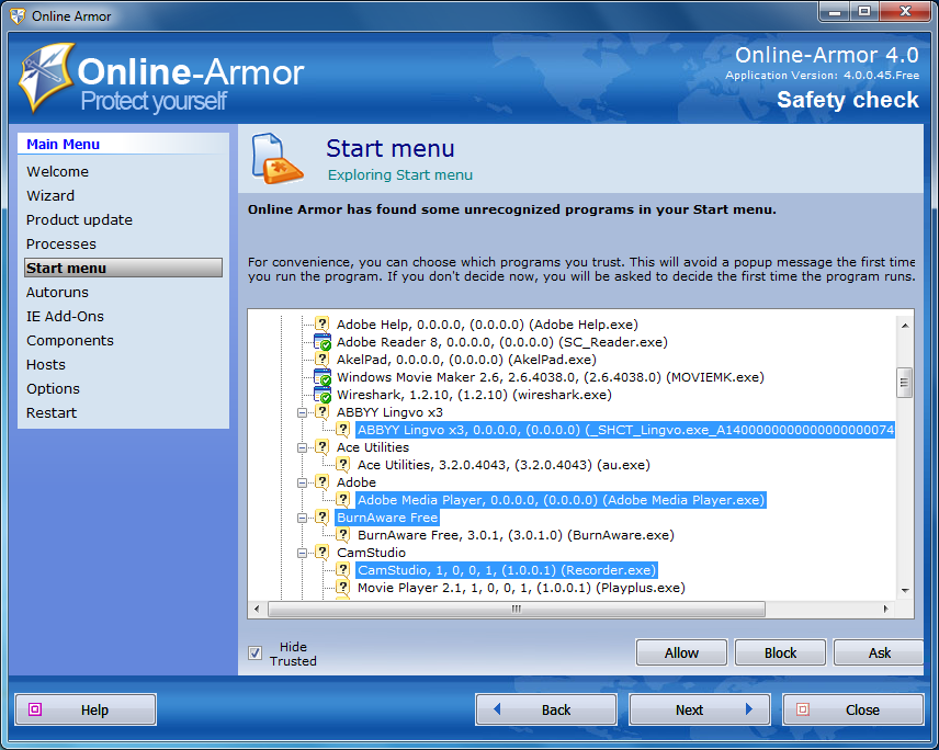 Online-Armor - Safety Check - программы меню Пуск