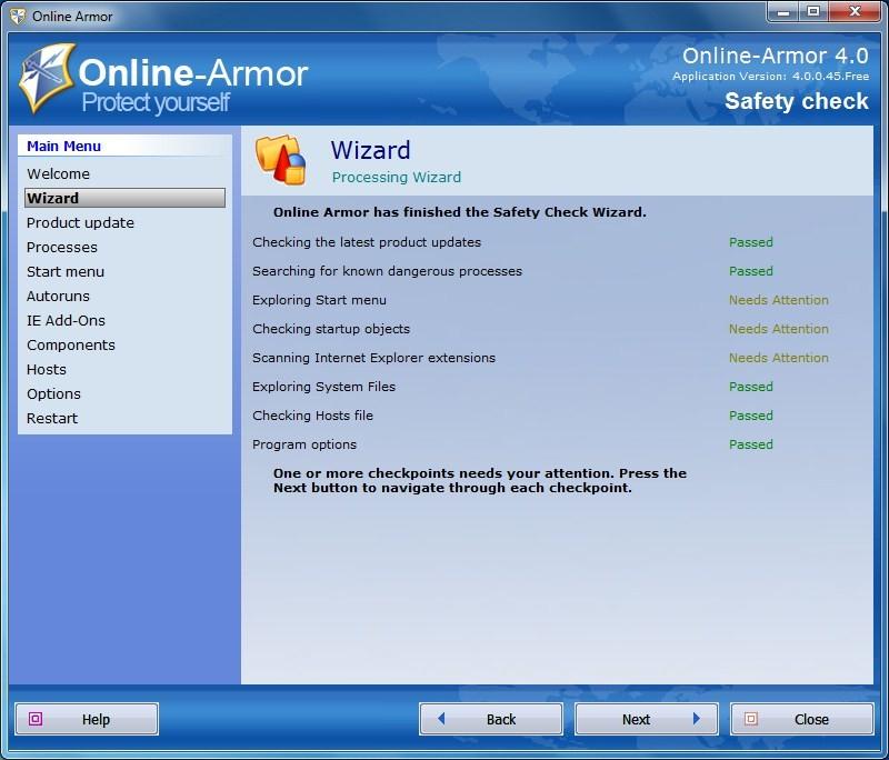 Online-Armor - Safety Check завершен