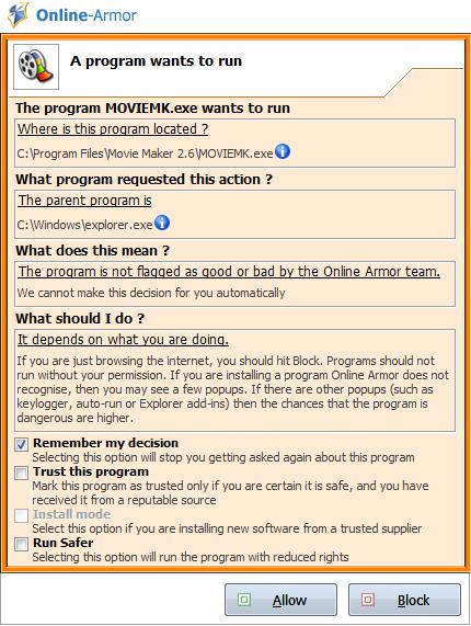 Online-Armor - Оповещение о запуске не известной программы