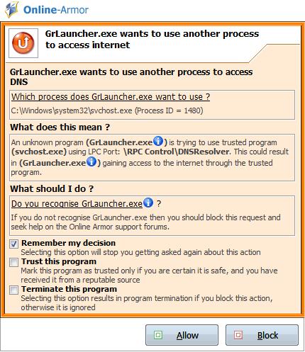 Online-Armor - Оповещение об использовании другого процесса для доступа в инет