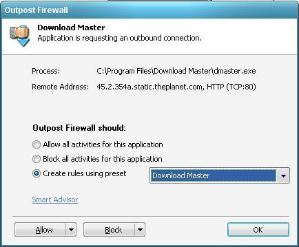 Outpost Firewall Free - запрос