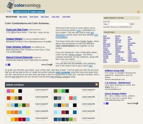 Главная страница сайта ColorCombos