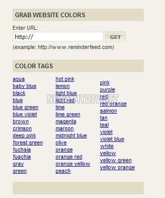 Тэги по цветам и определение цветовой палитры сайта
