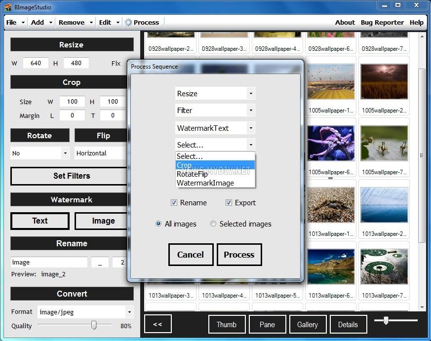 BImageStudio - Выбор операций на выполнение.