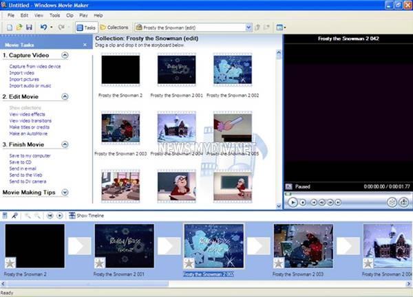 главное окно программы Windows Movie Maker 2.6, с появившимся пунктом