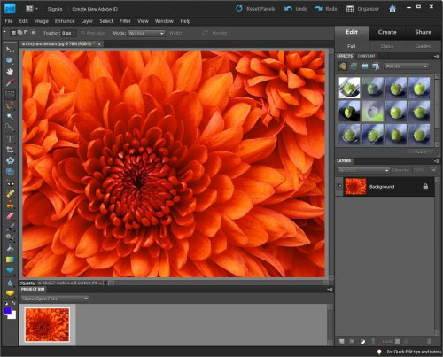 Окно программы Adobe Photoshop Elements 9