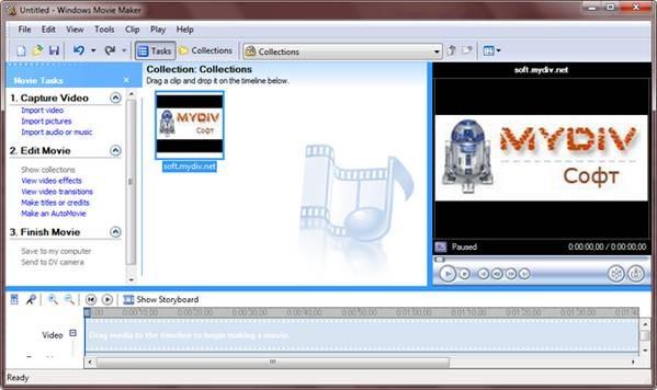 Главное окно программы Windows Movie Maker 2.6